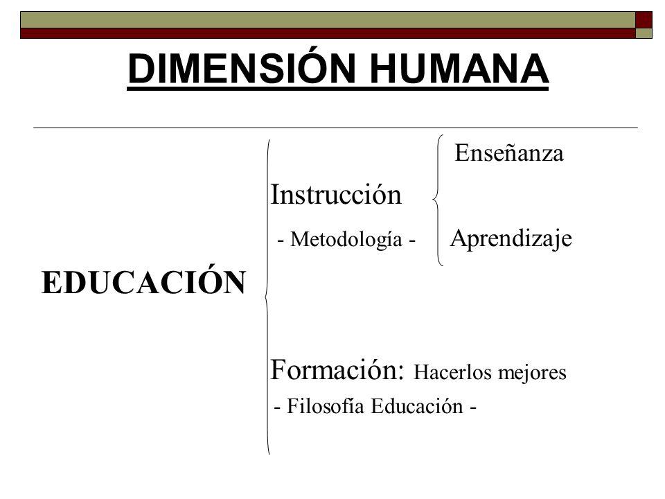 Enseñanza Instrucción - Metodología - Aprendizaje EDUCACIÓN Formación: Hacerlos mejores - Filosofía Educación - DIMENSIÓN HUMANA