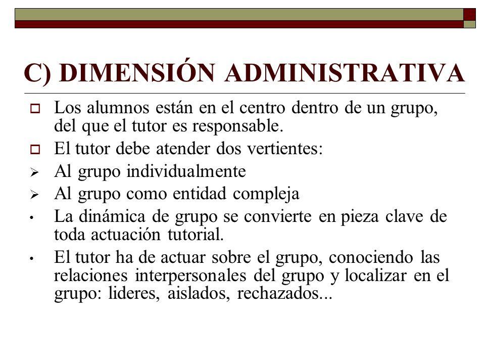 C) DIMENSIÓN ADMINISTRATIVA Los alumnos están en el centro dentro de un grupo, del que el tutor es responsable. El tutor debe atender dos vertientes: