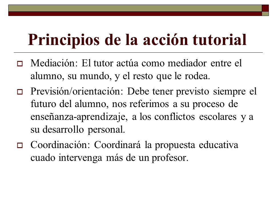 Principios de la acción tutorial Mediación: El tutor actúa como mediador entre el alumno, su mundo, y el resto que le rodea. Previsión/orientación: De