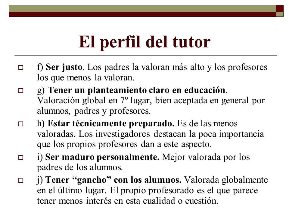El perfil del tutor f) Ser justo. Los padres la valoran más alto y los profesores los que menos la valoran. g) Tener un planteamiento claro en educaci