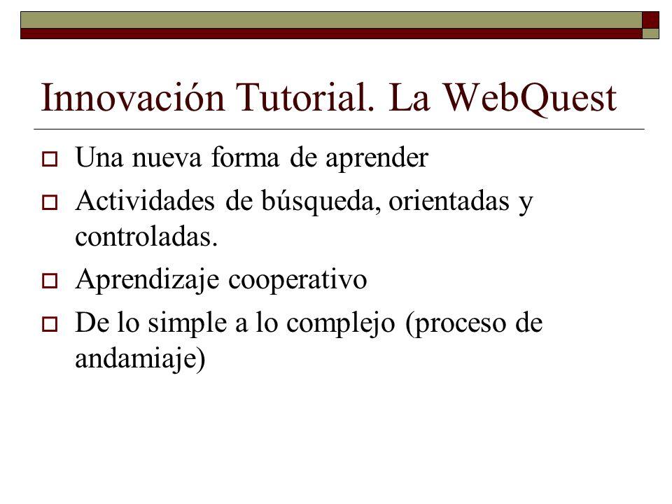 Innovación Tutorial. La WebQuest Una nueva forma de aprender Actividades de búsqueda, orientadas y controladas. Aprendizaje cooperativo De lo simple a