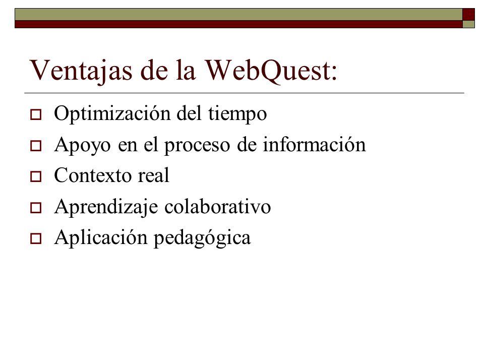 Ventajas de la WebQuest: Optimización del tiempo Apoyo en el proceso de información Contexto real Aprendizaje colaborativo Aplicación pedagógica