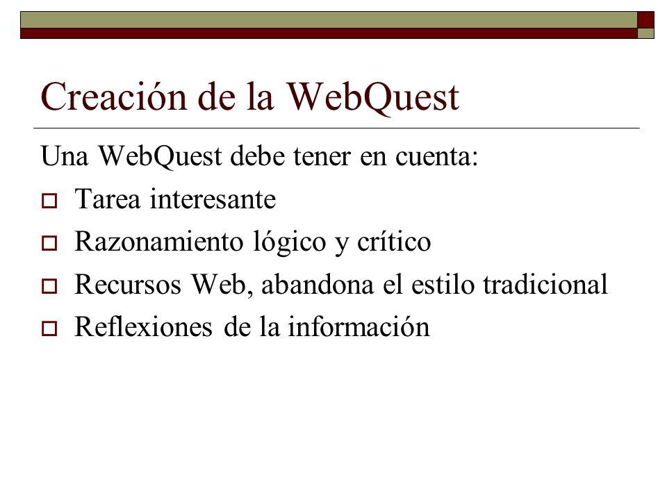 Creación de la WebQuest Una WebQuest debe tener en cuenta: Tarea interesante Razonamiento lógico y crítico Recursos Web, abandona el estilo tradiciona
