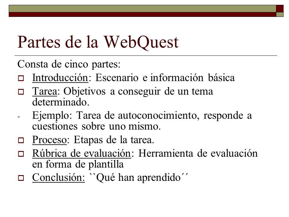 Partes de la WebQuest Consta de cinco partes: Introducción: Escenario e información básica Tarea: Objetivos a conseguir de un tema determinado. - Ejem