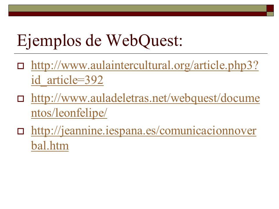 Ejemplos de WebQuest: http://www.aulaintercultural.org/article.php3? id_article=392 http://www.aulaintercultural.org/article.php3? id_article=392 http