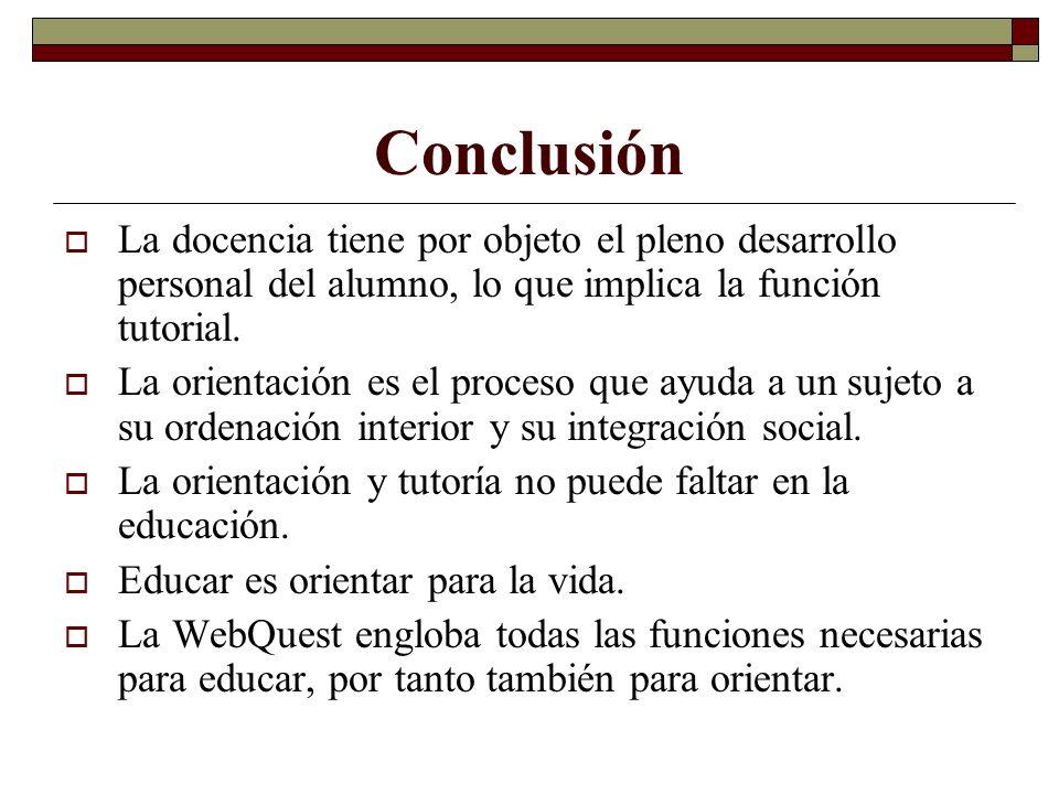 Conclusión La docencia tiene por objeto el pleno desarrollo personal del alumno, lo que implica la función tutorial. La orientación es el proceso que