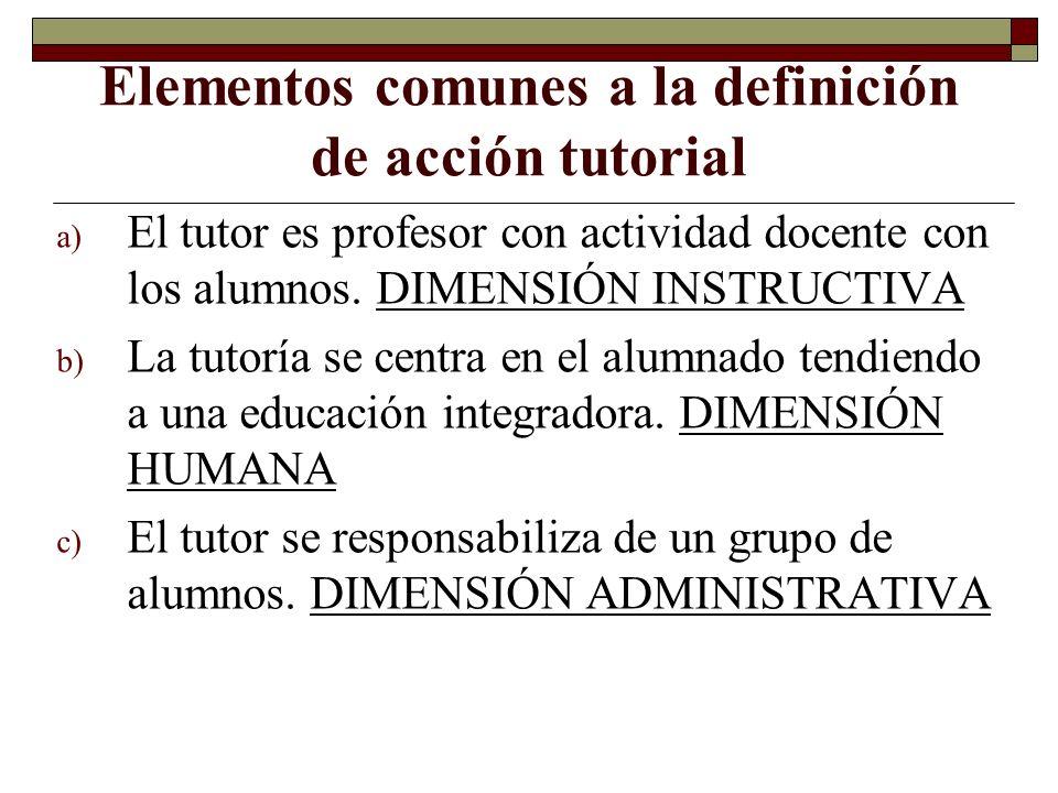 Elementos comunes a la definición de acción tutorial a) El tutor es profesor con actividad docente con los alumnos. DIMENSIÓN INSTRUCTIVA b) La tutorí