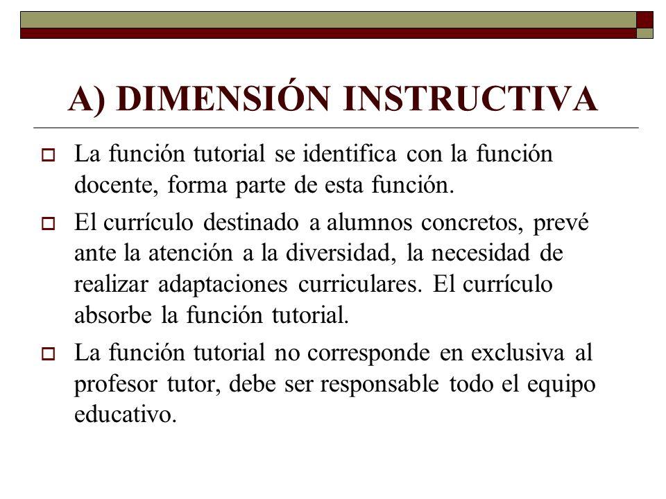 A) DIMENSIÓN INSTRUCTIVA La función tutorial se identifica con la función docente, forma parte de esta función. El currículo destinado a alumnos concr