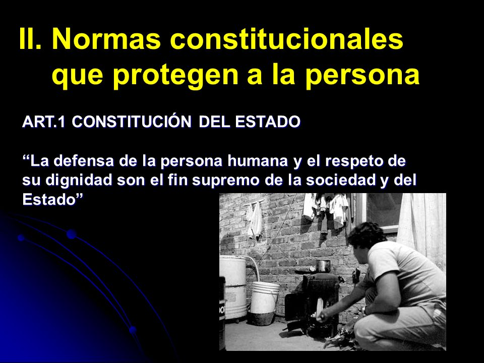 II. Normas constitucionales que protegen a la persona ART.1 CONSTITUCIÓN DEL ESTADO La defensa de la persona humana y el respeto de su dignidad son el
