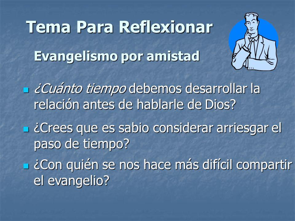 Tema Para Reflexionar Evangelismo por amistad ¿Cuánto tiempo debemos desarrollar la relación antes de hablarle de Dios? ¿Cuánto tiempo debemos desarro