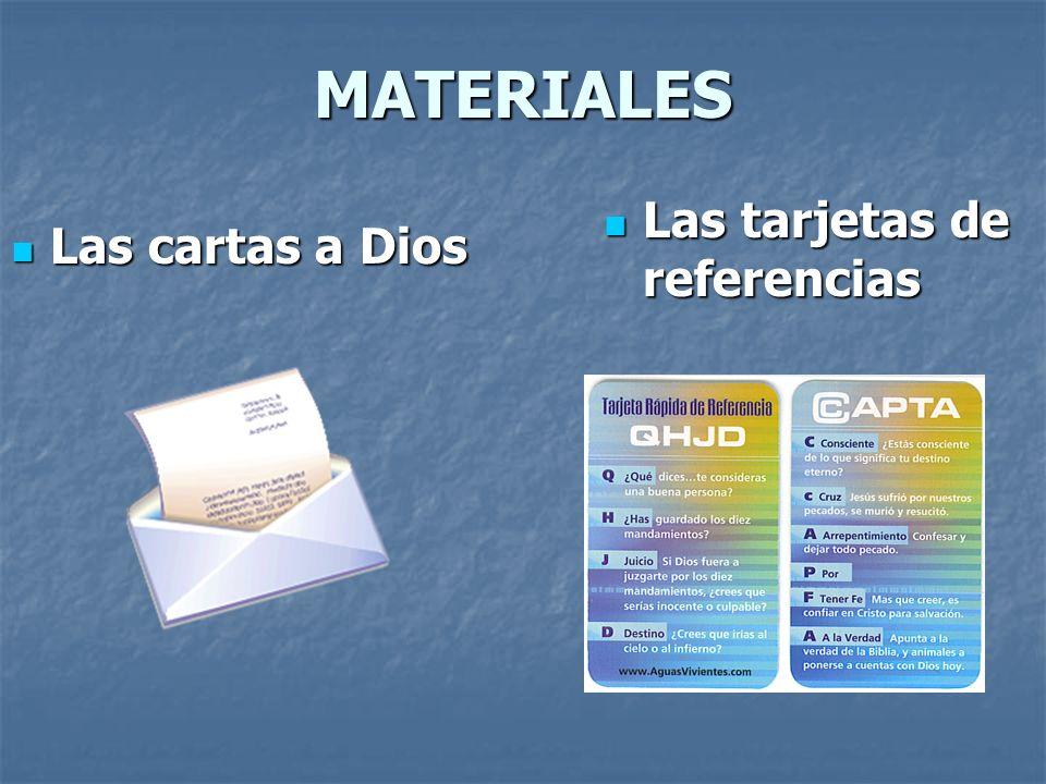 MATERIALES Las cartas a Dios Las tarjetas de referencias