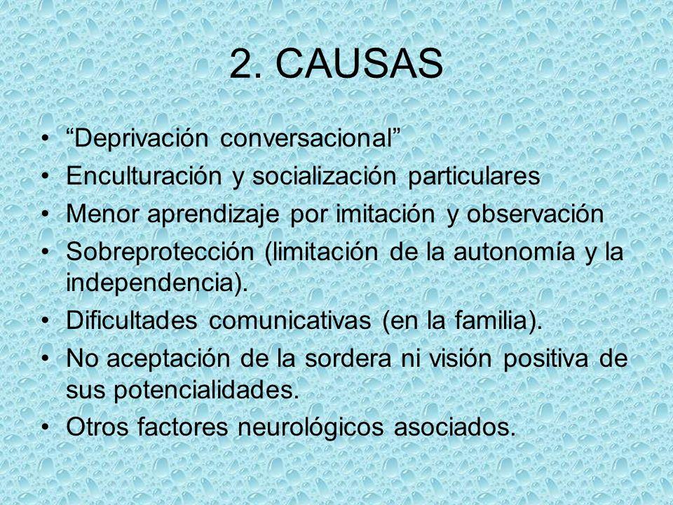 2. CAUSAS Deprivación conversacional Enculturación y socialización particulares Menor aprendizaje por imitación y observación Sobreprotección (limitac