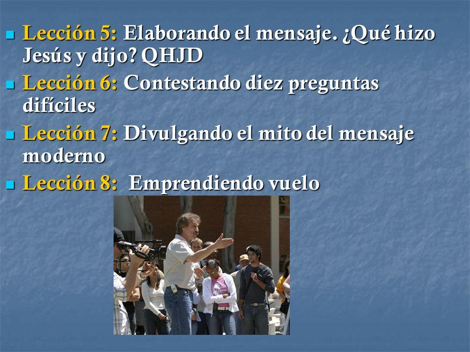 Lección 5: Elaborando el mensaje. ¿Qué hizo Jesús y dijo? QHJD Lección 5: Elaborando el mensaje. ¿Qué hizo Jesús y dijo? QHJD Lección 6: Contestando d