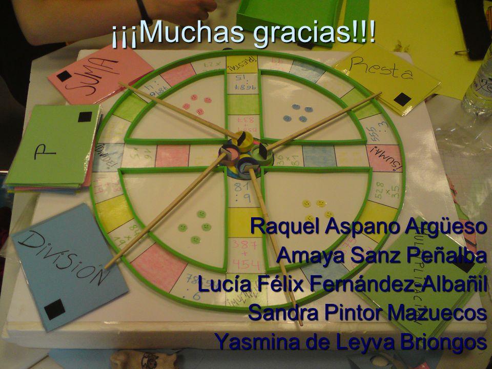 ¡¡¡Muchas gracias!!! Raquel Aspano Argüeso Amaya Sanz Peñalba Lucía Félix Fernández-Albañil Sandra Pintor Mazuecos Yasmina de Leyva Briongos