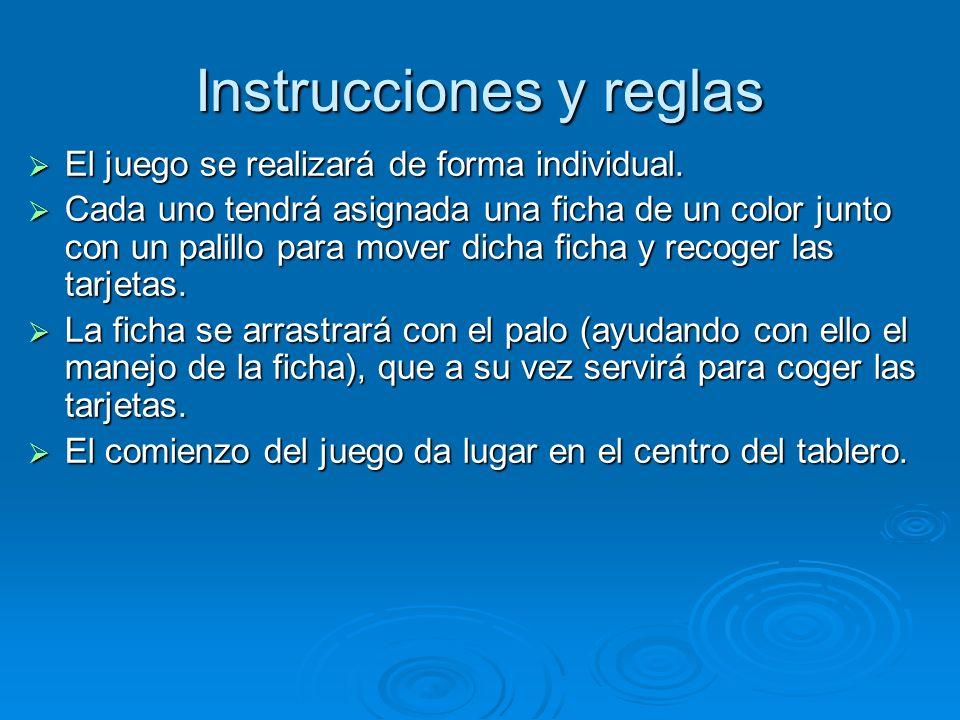 Instrucciones y reglas El juego se realizará de forma individual. El juego se realizará de forma individual. Cada uno tendrá asignada una ficha de un