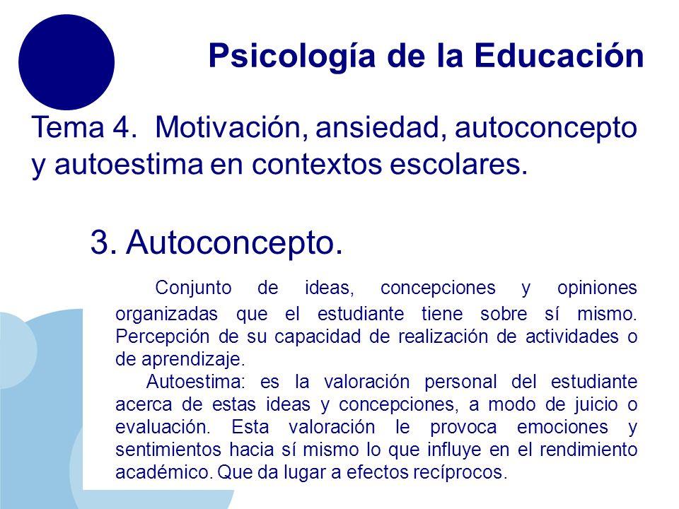 www.company.com Psicología de la Educación Tema 4. Motivación, ansiedad, autoconcepto y autoestima en contextos escolares. 3. Autoconcepto. Conjunto d
