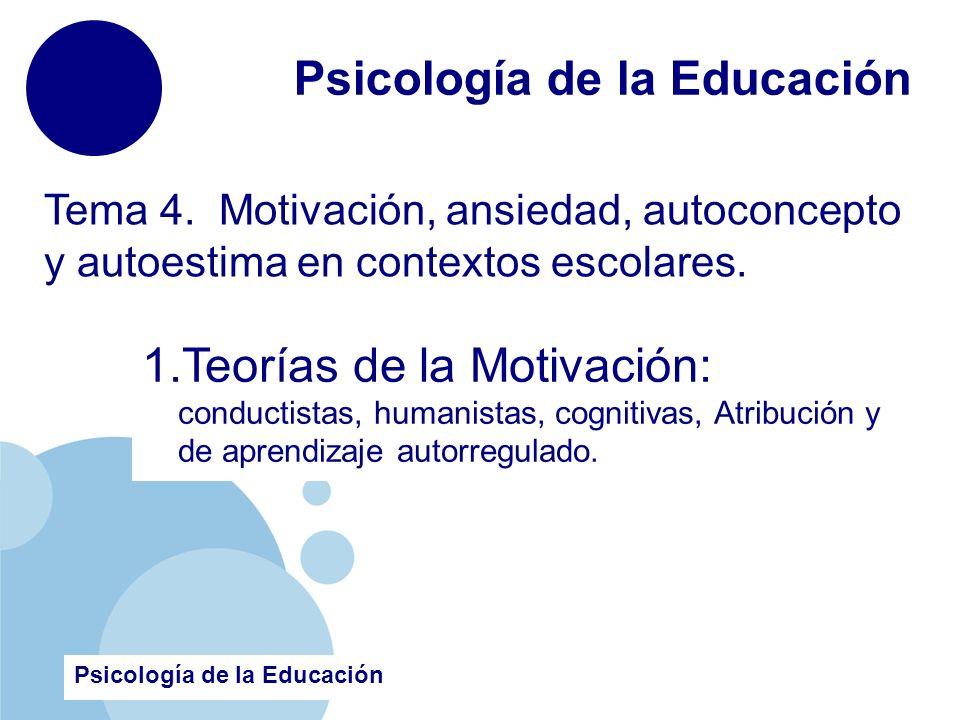 www.company.com Psicología de la Educación Tema 4. Motivación, ansiedad, autoconcepto y autoestima en contextos escolares. Psicología de la Educación