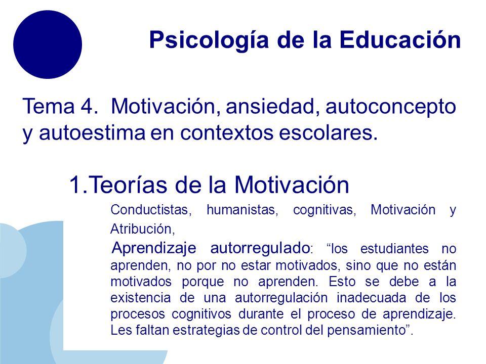 www.company.com Psicología de la Educación Tema 4. Motivación, ansiedad, autoconcepto y autoestima en contextos escolares. 1.Teorías de la Motivación