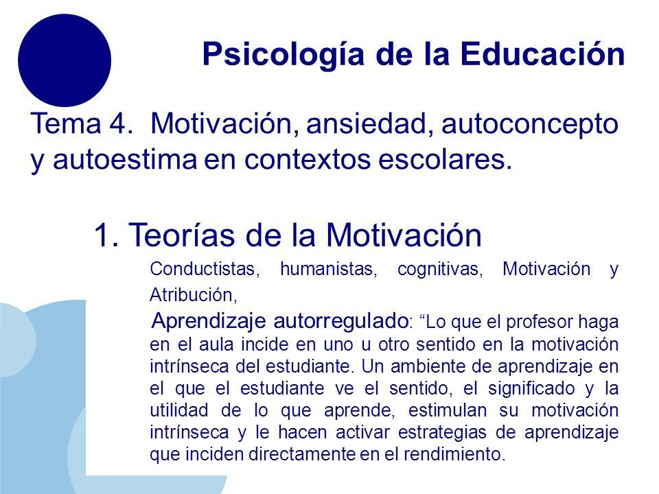 www.company.com Psicología de la Educación Tema 4. Motivación, ansiedad, autoconcepto y autoestima en contextos escolares. 1. Teorías de la Motivación