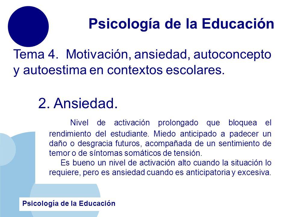 www.company.com Psicología de la Educación Tema 4. Motivación, ansiedad, autoconcepto y autoestima en contextos escolares. 2. Ansiedad. Nivel de activ