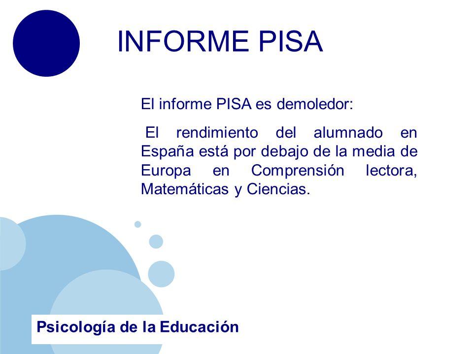 www.company.com Psicología de la Educación INFORME PISA El informe PISA es demoledor: El rendimiento del alumnado en España está por debajo de la media de Europa en Comprensión lectora, Matemáticas y Ciencias.