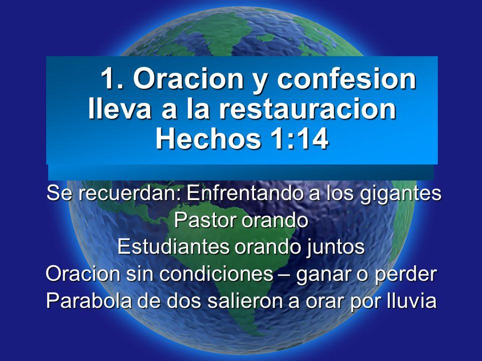 Slide 3 1. Oracion y confesion lleva a la restauracion Hechos 1:14 1. Oracion y confesion lleva a la restauracion Hechos 1:14 Se recuerdan: Enfrentand