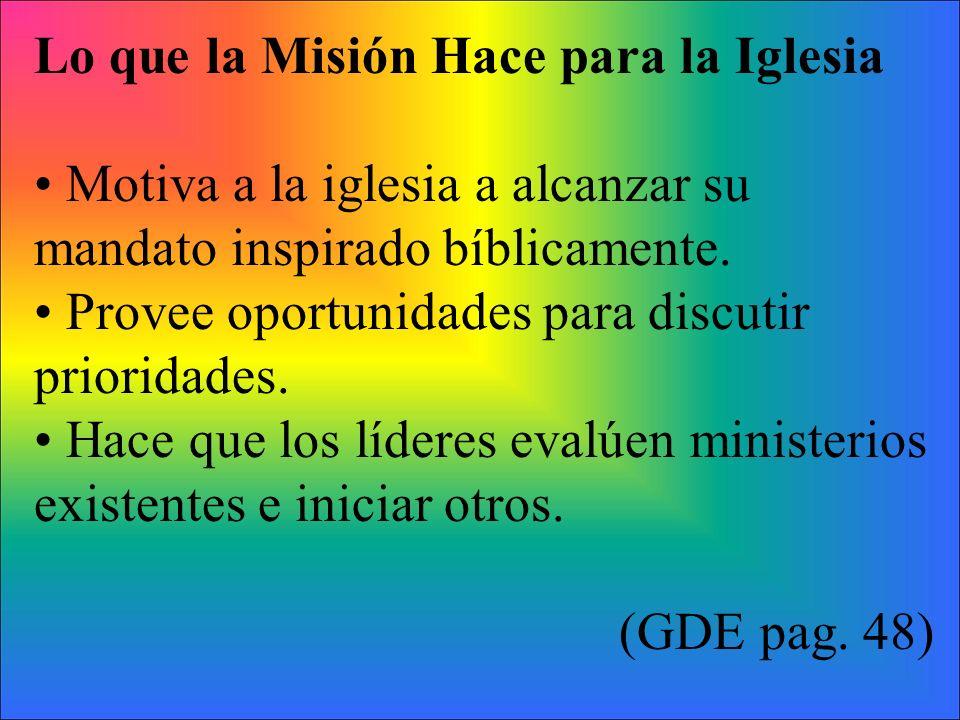Lo que la Misión Hace para la Iglesia Motiva a la iglesia a alcanzar su mandato inspirado bíblicamente. Provee oportunidades para discutir prioridades