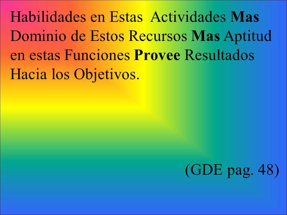 Habilidades en Estas Actividades Mas Dominio de Estos Recursos Mas Aptitud en estas Funciones Provee Resultados Hacia los Objetivos. (GDE pag. 48)