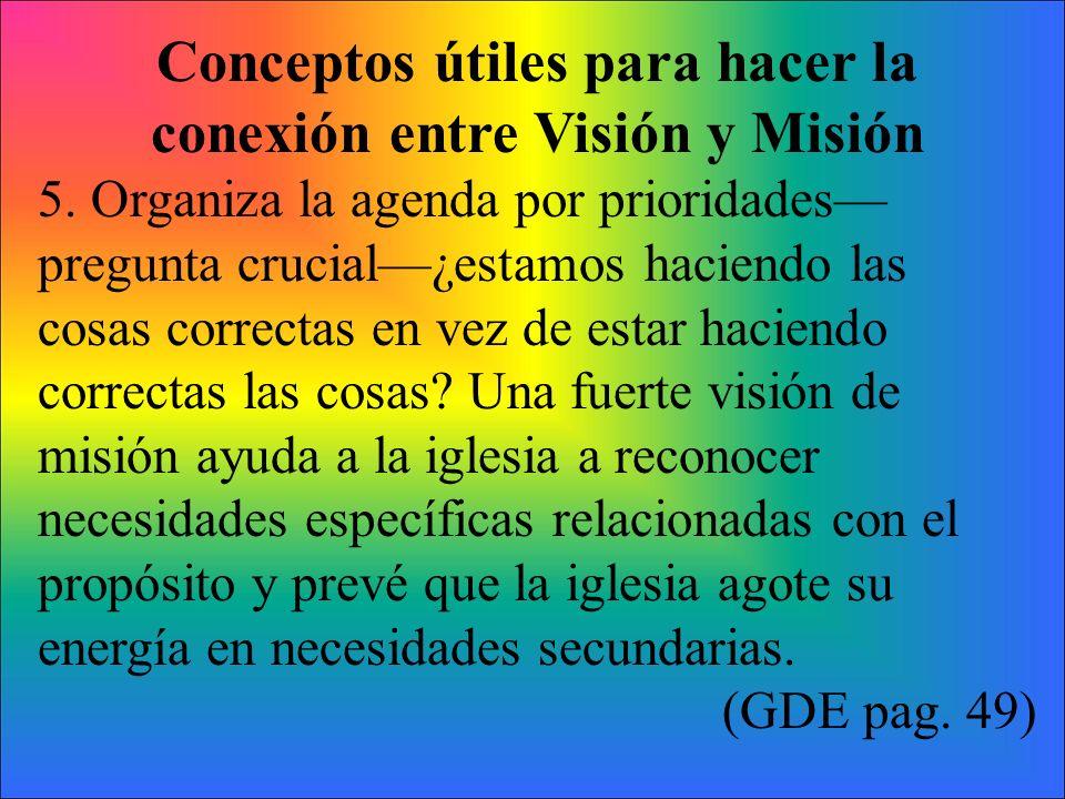 Conceptos útiles para hacer la conexión entre Visión y Misión 5. Organiza la agenda por prioridades pregunta crucial¿estamos haciendo las cosas correc