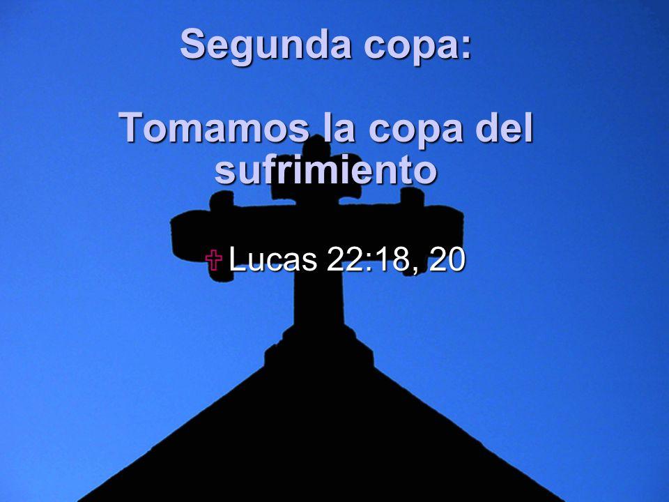 Slide 5 Segunda copa: Tomamos la copa del sufrimiento Lucas 22:18, 20 Lucas 22:18, 20
