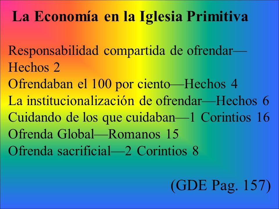 La Economía en la Iglesia Primitiva Responsabilidad compartida de ofrendar Hechos 2 Ofrendaban el 100 por cientoHechos 4 La institucionalización de of