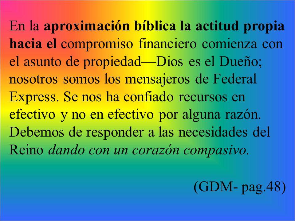 En la aproximación bíblica la actitud propia hacia el compromiso financiero comienza con el asunto de propiedadDios es el Dueño; nosotros somos los me