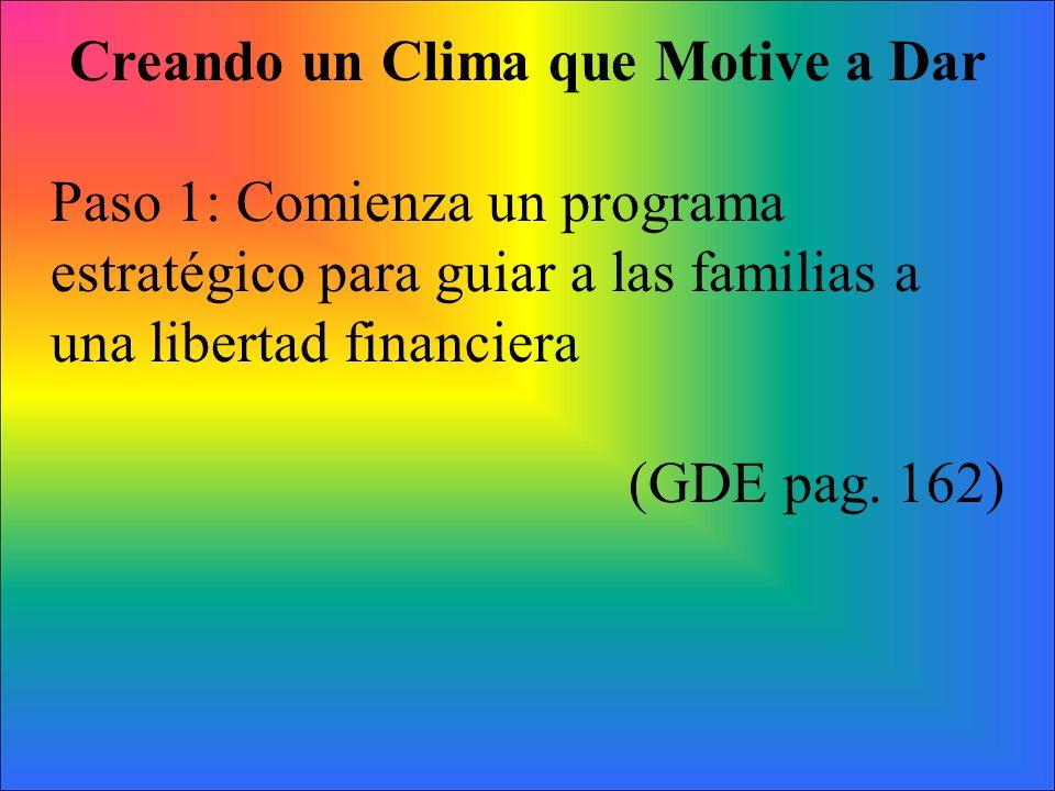 Creando un Clima que Motive a Dar Paso 1: Comienza un programa estratégico para guiar a las familias a una libertad financiera (GDE pag. 162)