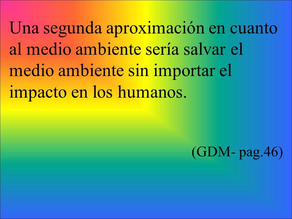 Una segunda aproximación en cuanto al medio ambiente sería salvar el medio ambiente sin importar el impacto en los humanos. (GDM- pag.46)