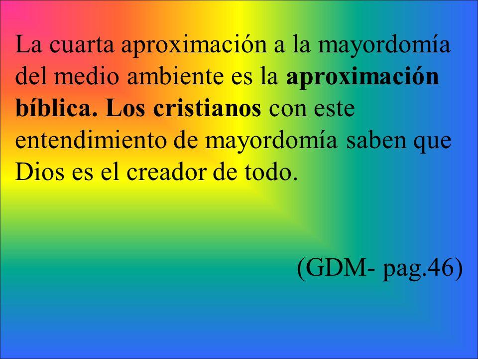 La cuarta aproximación a la mayordomía del medio ambiente es la aproximación bíblica. Los cristianos con este entendimiento de mayordomía saben que Di