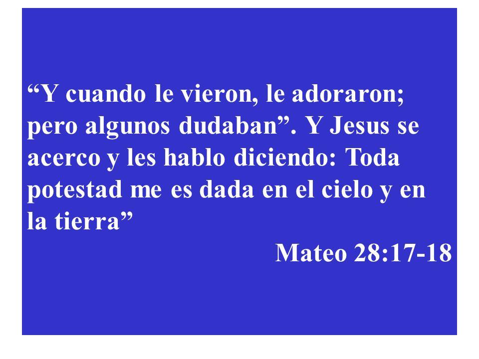 Y cuando le vieron, le adoraron; pero algunos dudaban. Y Jesus se acerco y les hablo diciendo: Toda potestad me es dada en el cielo y en la tierra Mat