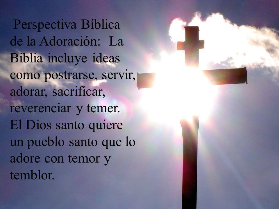 Perspectiva Bíblica de la Adoración: La Biblia incluye ideas como postrarse, servir, adorar, sacrificar, reverenciar y temer. El Dios santo quiere un