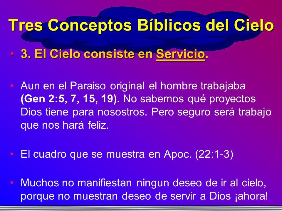 3. El Cielo consiste en Servicio.3. El Cielo consiste en Servicio. Aun en el Paraiso original el hombre trabajaba (Gen 2:5, 7, 15, 19). No sabemos qué