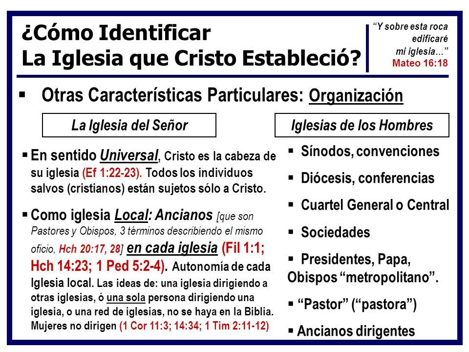 ¿Cómo Identificar La Iglesia que Cristo Estableció? Otras Características Particulares: Organización La Iglesia del SeñorIglesias de los Hombres En se