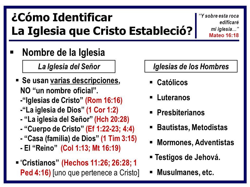 ¿Cómo Identificar La Iglesia que Cristo Estableció? Nombre de la Iglesia La Iglesia del SeñorIglesias de los Hombres Se usan varias descripciones, NO