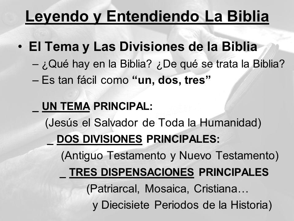 Leyendo y Entendiendo La Biblia El Tema y Las Divisiones de la Biblia –¿Qué hay en la Biblia? ¿De qué se trata la Biblia? –Es tan fácil como un, dos,