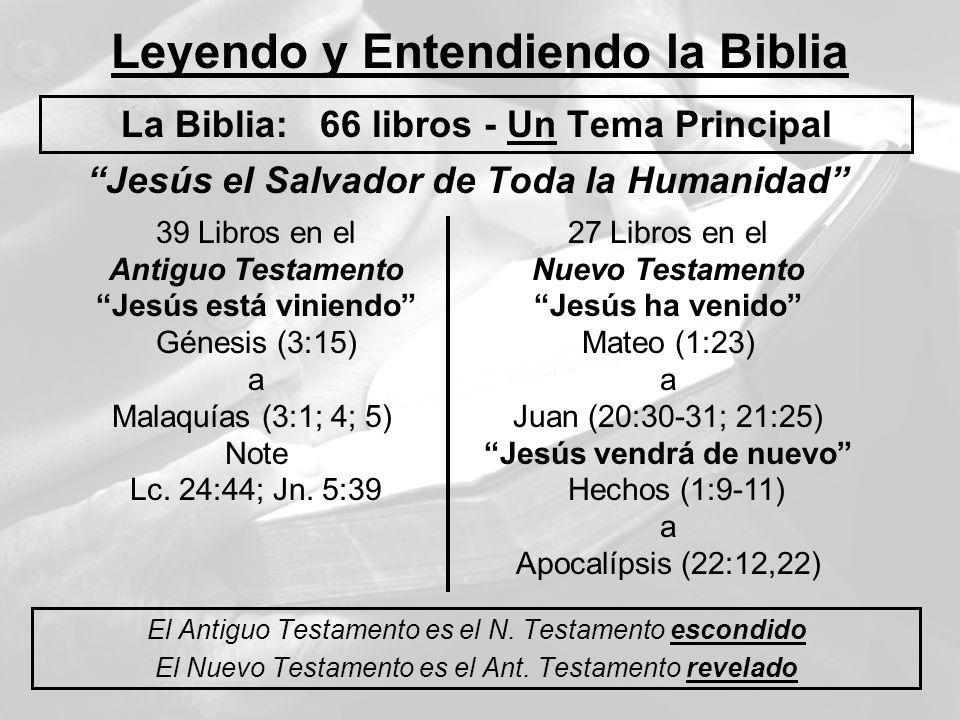 Leyendo y Entendiendo la Biblia La Biblia: 66 libros - Un Tema Principal El Antiguo Testamento es el N. Testamento escondido El Nuevo Testamento es el
