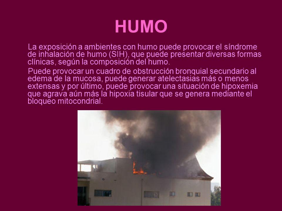 HUMO La exposición a ambientes con humo puede provocar el síndrome de inhalación de humo (SIH), que puede presentar diversas formas clínicas, según la composición del humo.
