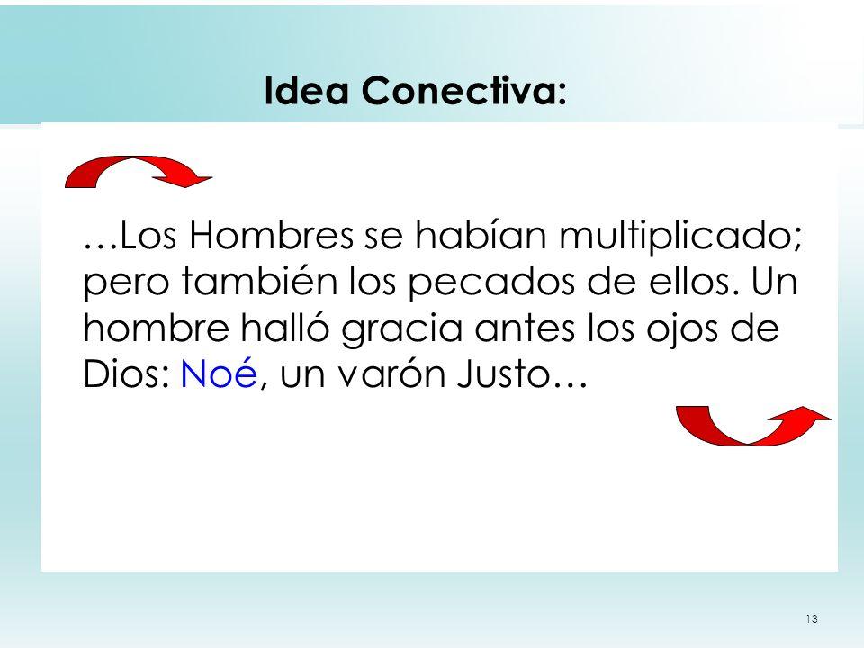 13 Idea Conectiva: …Los Hombres se habían multiplicado; pero también los pecados de ellos. Un hombre halló gracia antes los ojos de Dios: Noé, un varó