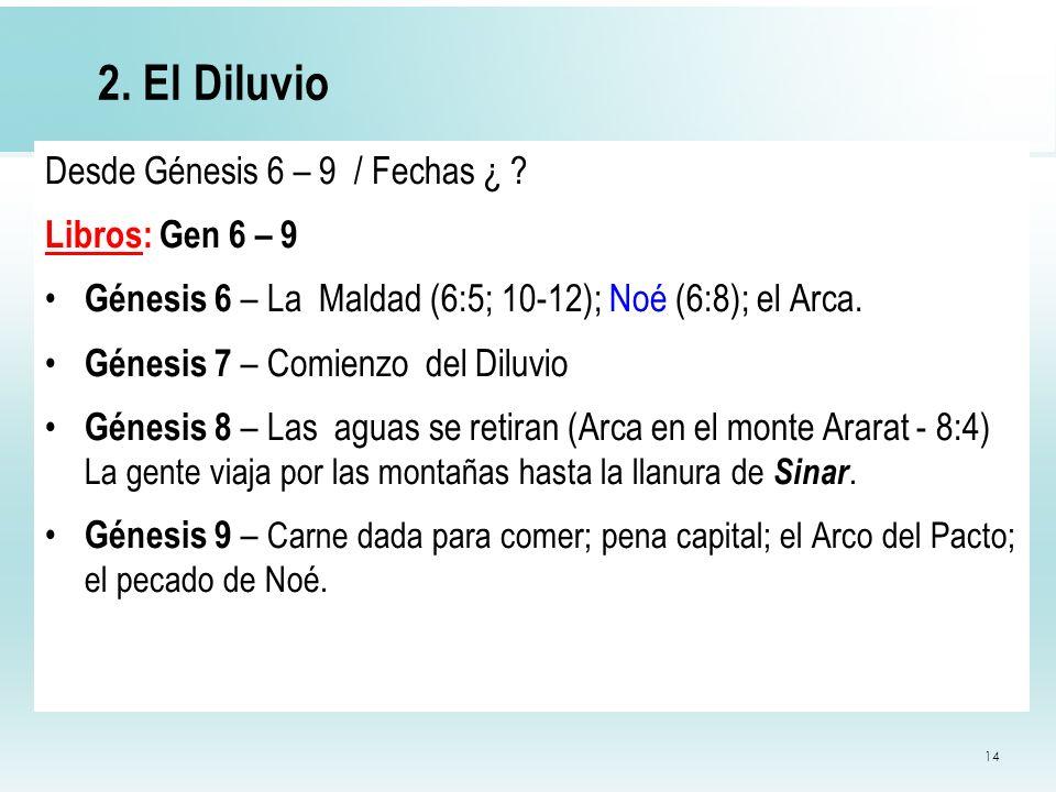 14 2. El Diluvio Desde Génesis 6 – 9 / Fechas ¿ ? Libros: Gen 6 – 9 Génesis 6 – La Maldad (6:5; 10-12); Noé (6:8); el Arca. Génesis 7 – Comienzo del D