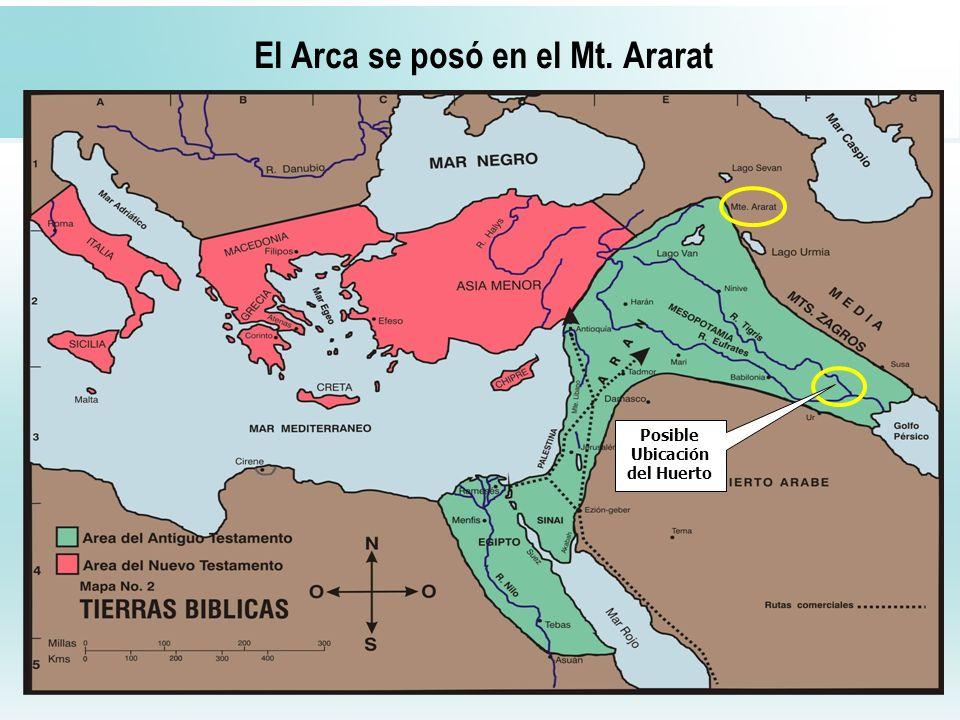 15 El Arca se posó en el Mt. Ararat Posible Ubicación del Huerto
