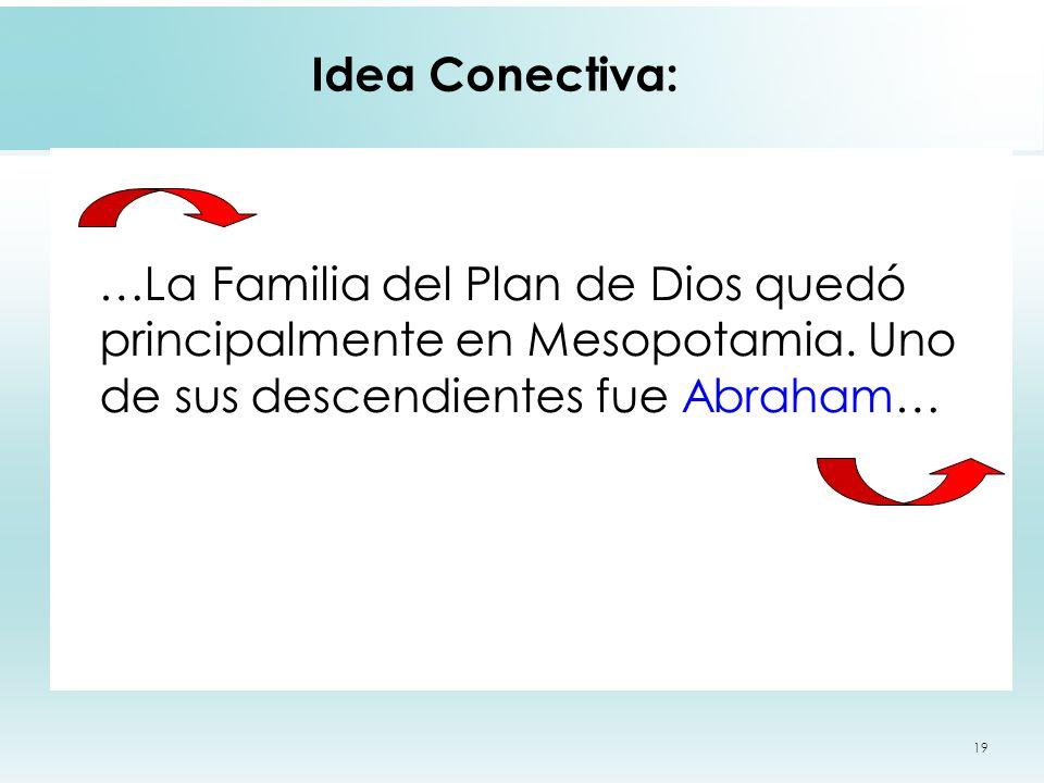 19 Idea Conectiva: …La Familia del Plan de Dios quedó principalmente en Mesopotamia. Uno de sus descendientes fue Abraham…