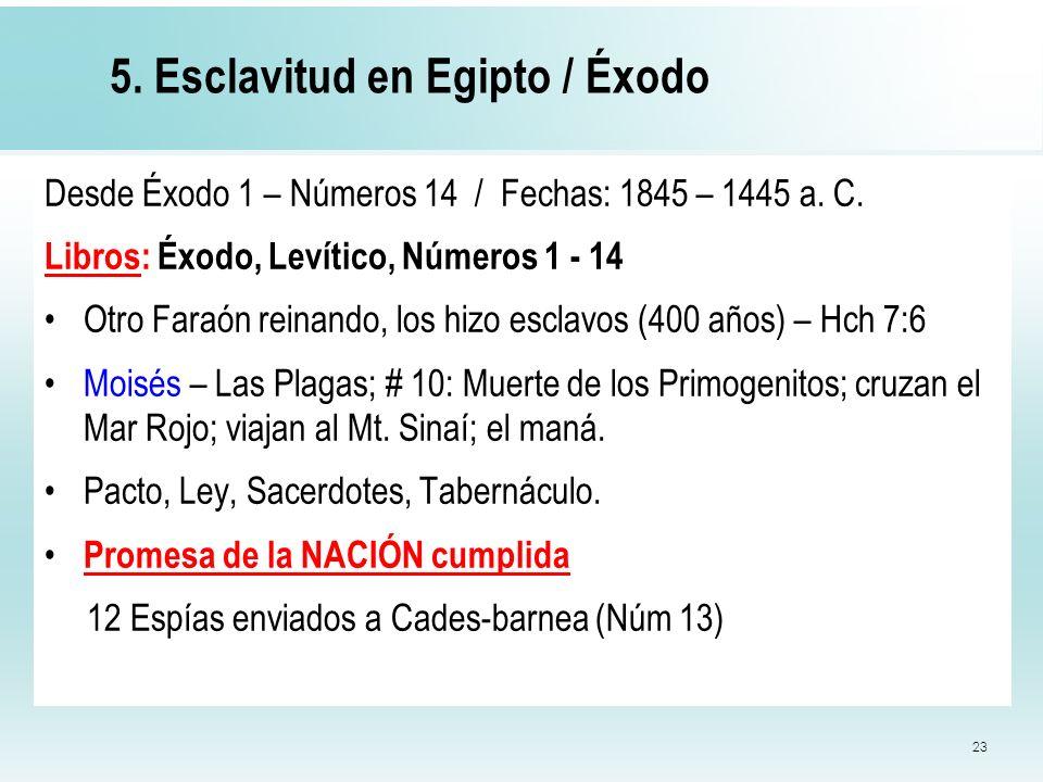 23 5. Esclavitud en Egipto / Éxodo Desde Éxodo 1 – Números 14 / Fechas: 1845 – 1445 a. C. Libros: Éxodo, Levítico, Números 1 - 14 Otro Faraón reinando