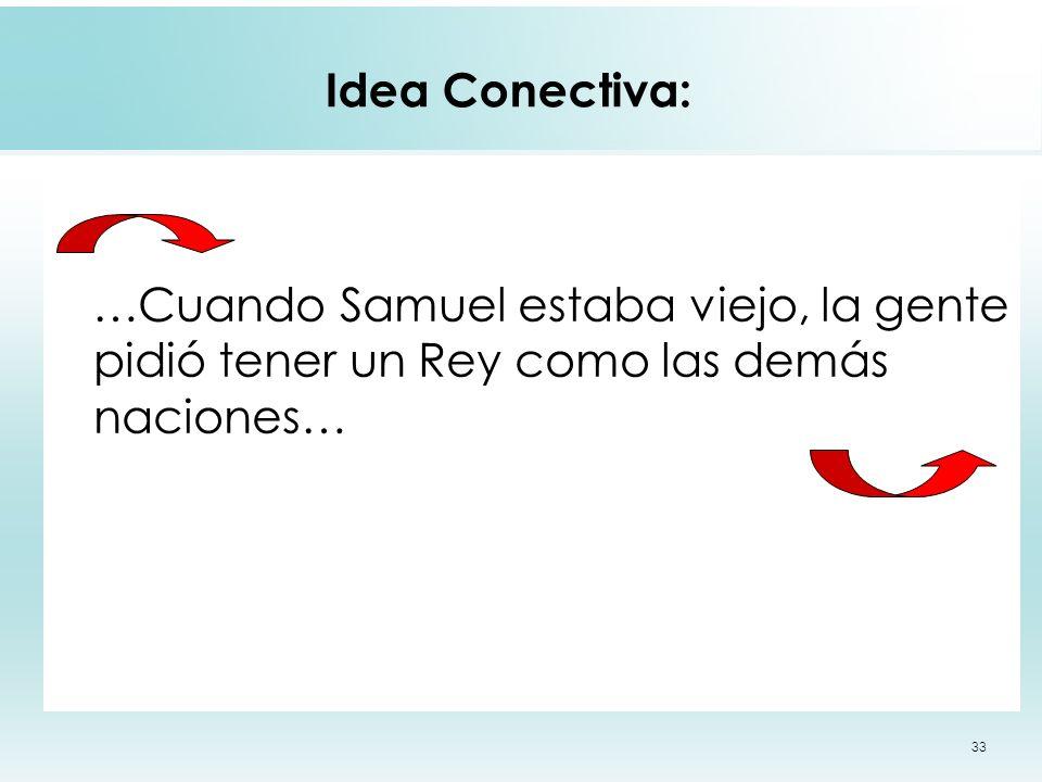 33 Idea Conectiva: …Cuando Samuel estaba viejo, la gente pidió tener un Rey como las demás naciones…