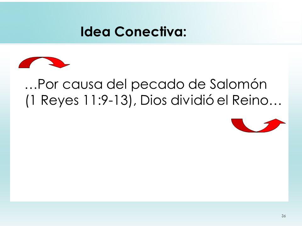 36 Idea Conectiva: …Por causa del pecado de Salomón (1 Reyes 11:9-13), Dios dividió el Reino…